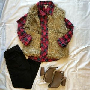 Sundance Sweet Sally Flannel Peplum Button Down
